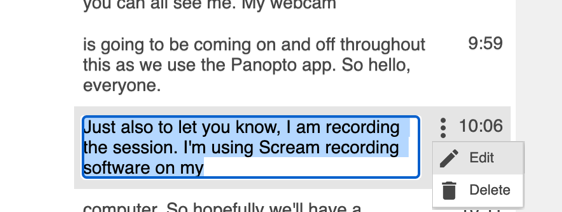 Captions can be edited within the Panopto web editor.