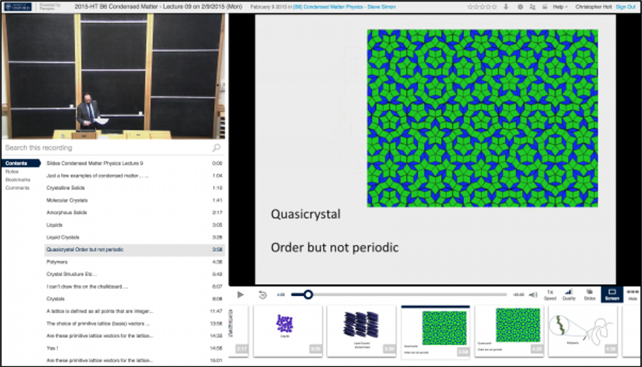 Image showing an example of the Panopto lecture capture online viewer