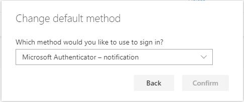 Screenshot showing the default method drop-down menu