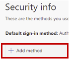On the security info page click + Add Method