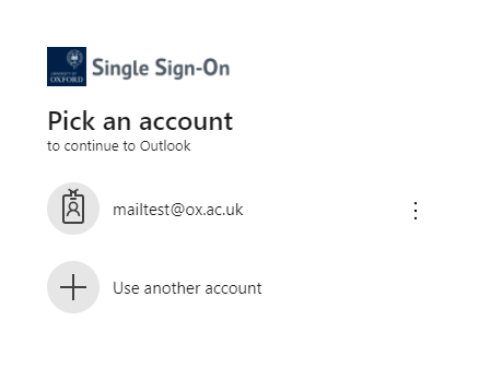 Select the account you want to login with