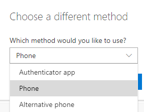 Open the drop-down menu and select Phone