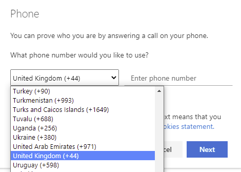 Use the drop-down menu to pick your country