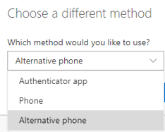 Select Alternative phone from the drop-down menu