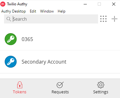 Authy showing a primary and secondary account