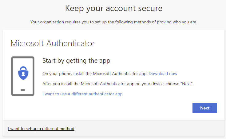 Get the MS authenticator app