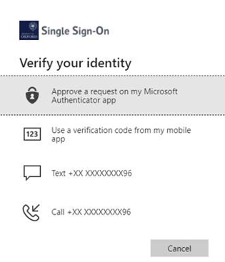 Screenshot of the Verify your identify screen listing all the authentication methods you have set up