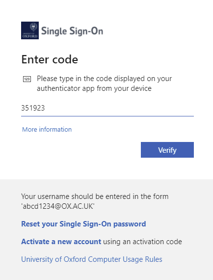 Type or paste the six-digit passcode