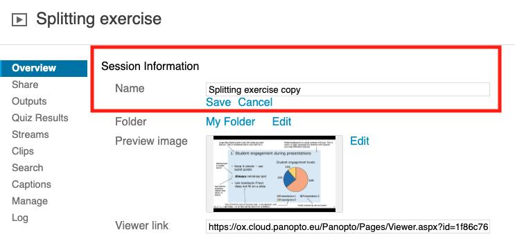 name settings overview panopto