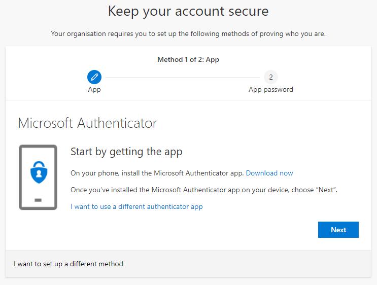 Screenshot showing the Nexus365 security verification screen