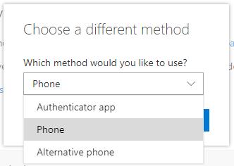 Screenshot showing the drop-down menu where you choose 'Phone'