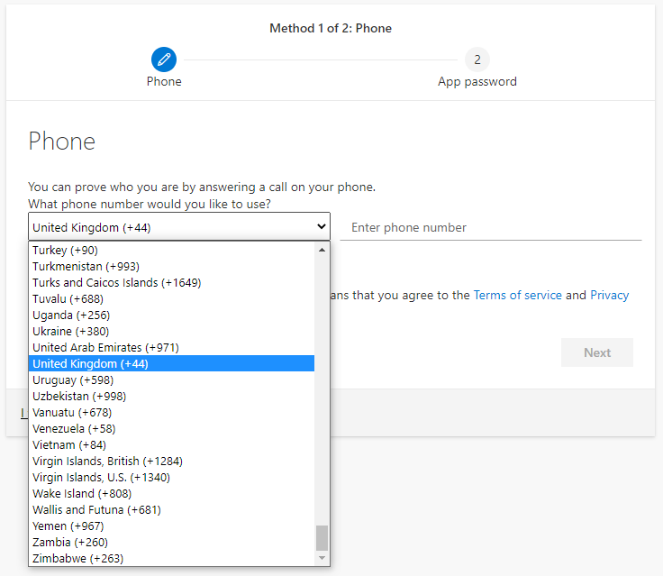 Screenshot showing the drop-down menu to pick the country the telephone number originates in