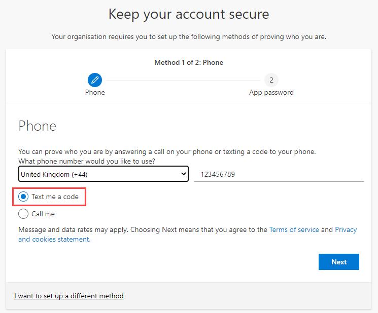 Screenshot highlighting the 'text me a code' button