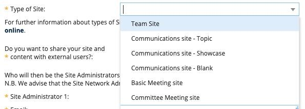 """""""Type of site"""" drop down, allowing you choose either a Basic Meeting site or Committee Meeting site"""