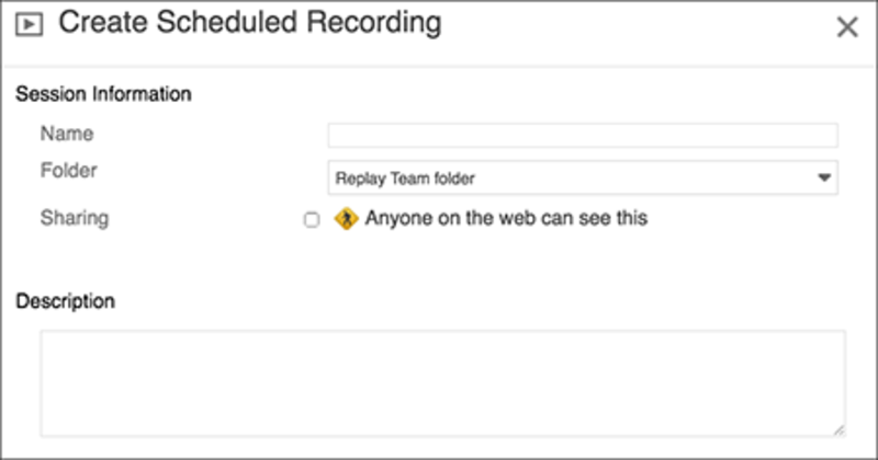 Create Scheduled Recording window