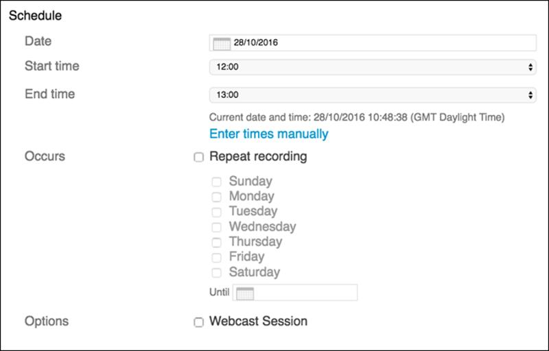 Remote Recorder 'Schedule' window