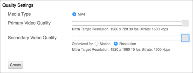 Remote Recorder Quality Settings window