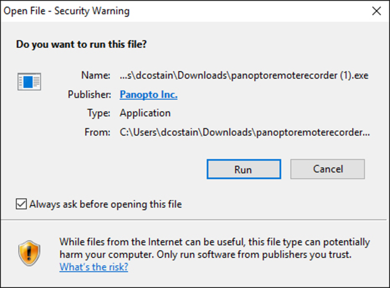 Image of Windows security pop-up for Panopto Remote Recorder