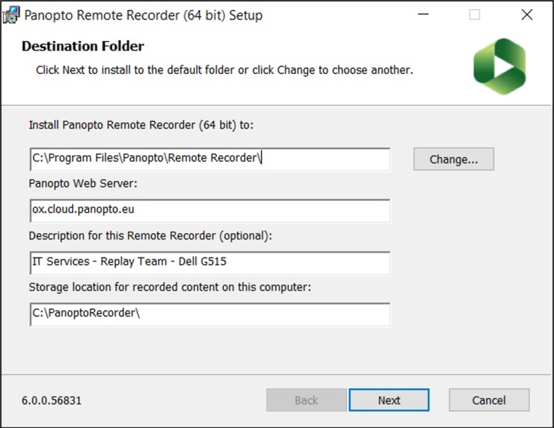 Image of Windows destination folder selection for Panopto Remote Recorder installer