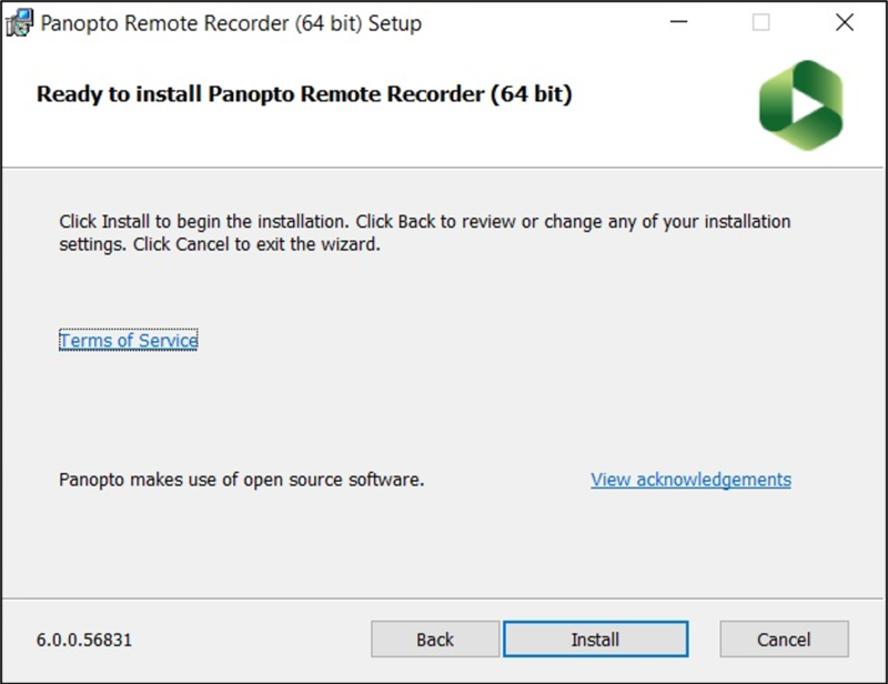 Image of Windows 'Ready to install' pop-up for Panopto Remote Recorder
