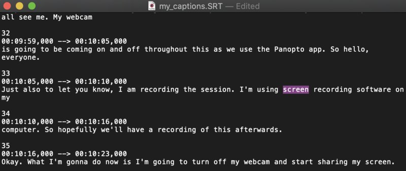 Editing downloaded captions using text editing software.