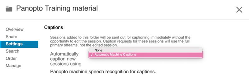 Captioning options within the Panopto folder settings.