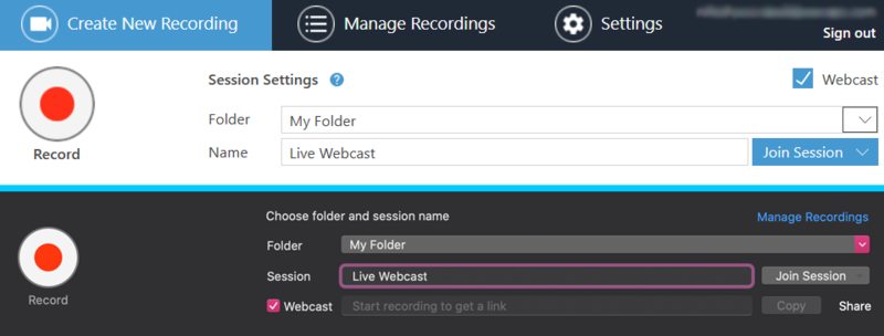 Webcasting in the Windows and macOS Panopto Manual Recorder.