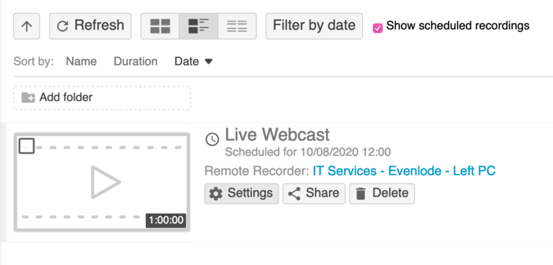 A webcast scheduled within a folder.
