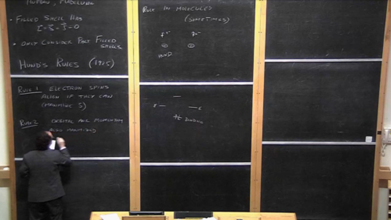 A lecturer writing on vertical blackboards.
