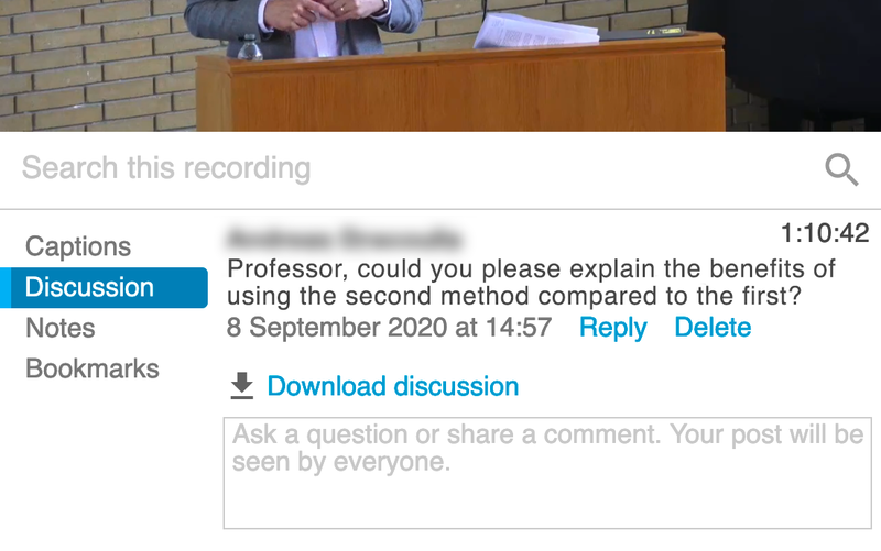 A discussion in a Panopto webcast.