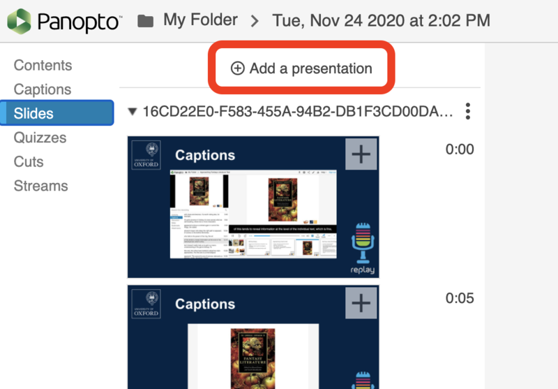Image highlighting 'Add a presentation' text to click