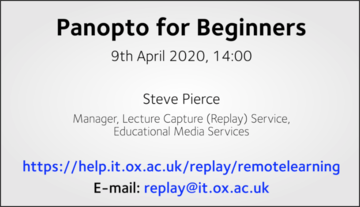 Clickable link for the 'Panopto for Beginners' recorded session